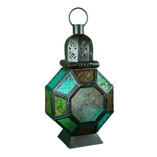 Metal and Glass Lantern By World Menagerie Outdoor Lighting