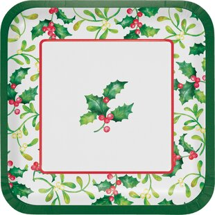 Moffett Holly Square Paper Dessert Plate (Set Of 24) By The Holiday Aisle