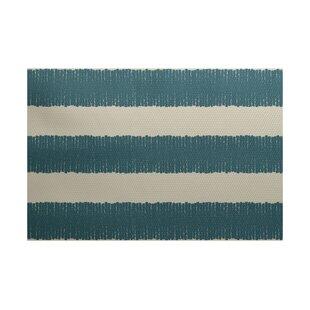 Leann Twisted Stripe Print Aqua Indoor/Outdoor Area Rug