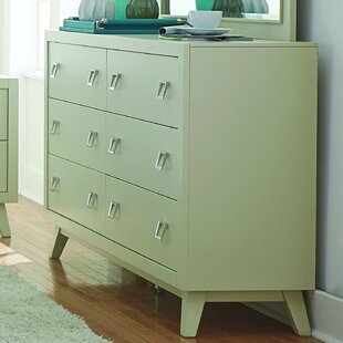 Hagerty 6 Drawer Double Dresser with Mirror
