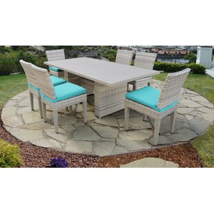 Fairmont 7 Piece Outdoor Patio Dining Set with Cushions