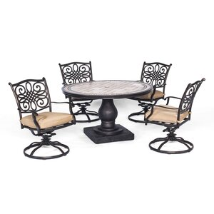 Monaco 5 Piece Dining Set with Cushion