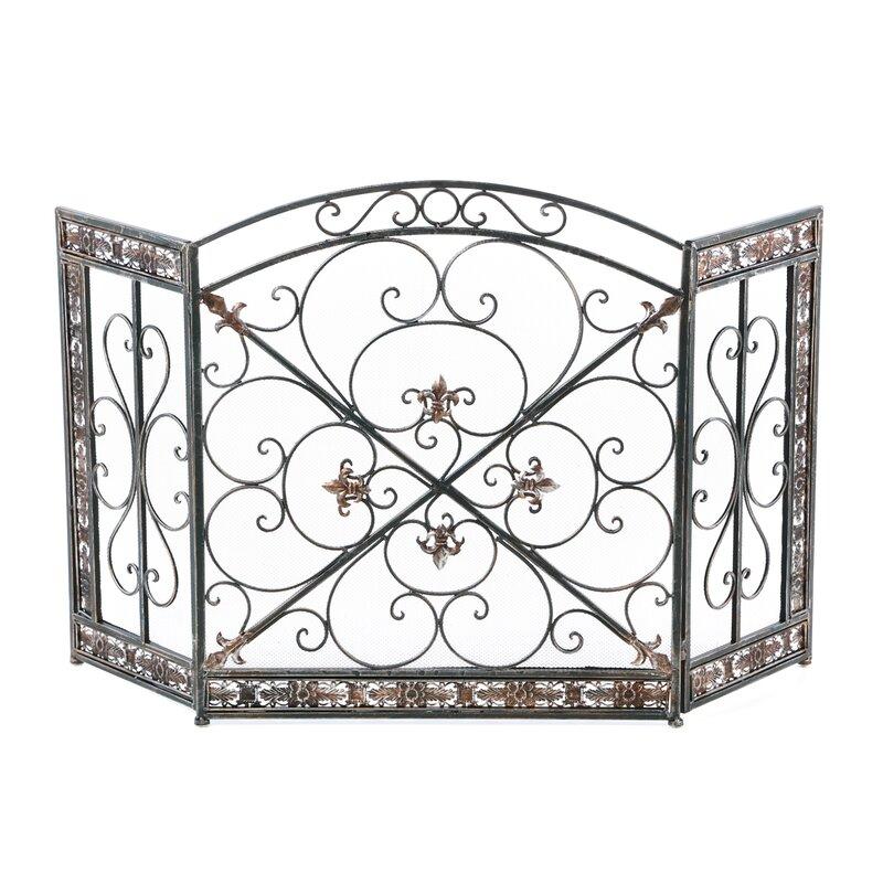 Iron Fireplace Screens aspire fleur de lis 3 panel iron fireplace screen & reviews   wayfair