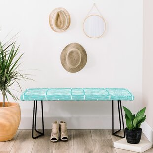 Shifting Pyramids Cyan Faux Leather Bench