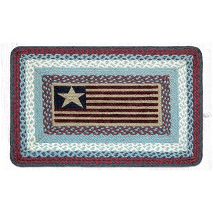 Flag Rectangle Red Blue Patch Area Rug