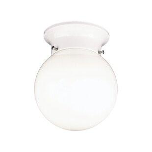 Thomas Lighting White Globe Flush Mount