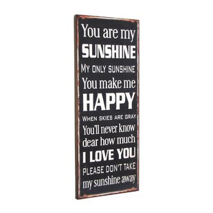 U0027You Are My Sunshineu0027 Textual Art Plaque
