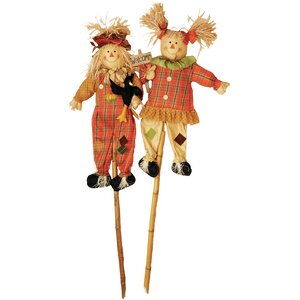 2 Piece Scarecrow on Pole Garden Stake Set