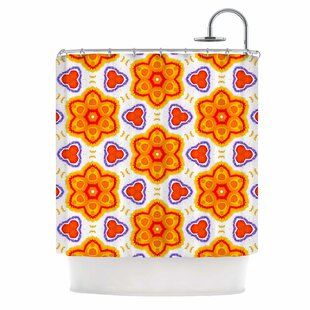'Kaleidoscopic Flowers' Single Shower Curtain
