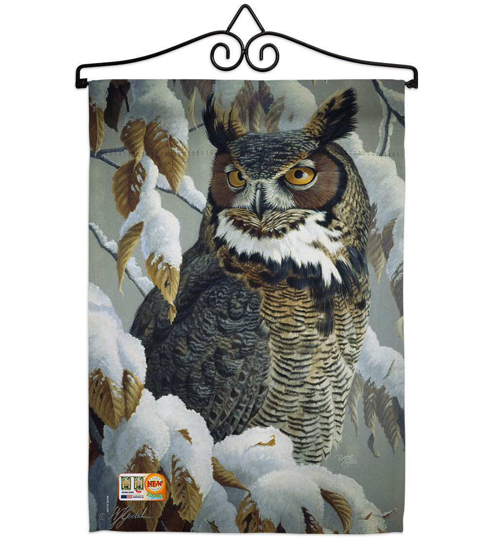 Breeze Decor Great Horned Owl 2 Sided Polyester 18 X 13 In Flag Set Wayfair