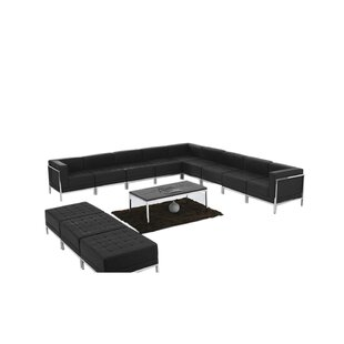 Peyton Leather Modular Sectional with Ottoman Set by Orren Ellis