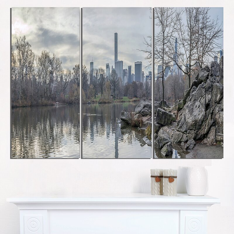 Designart Black And White Central Park Nyc 3 Piece Graphic Art On Wrapped Canvas Set Wayfair