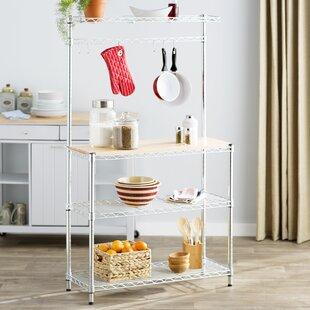 Ospina Basics Baker's Rack Workstation with Rubberwood Top