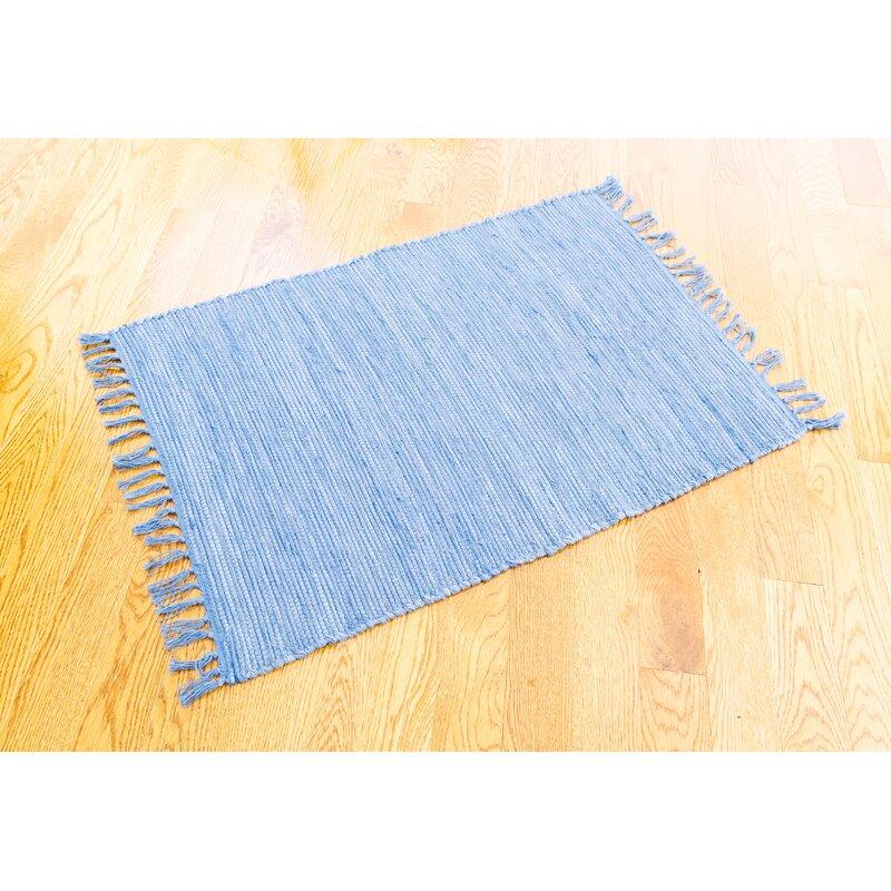 Highland Dunes Hand Knotted Cotton Slate Blue Area Rug Wayfair