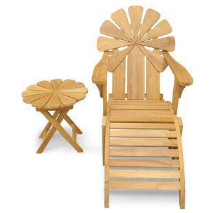 Veun Petals Adirondack Chair with Ottoman/Table (Set of 3)