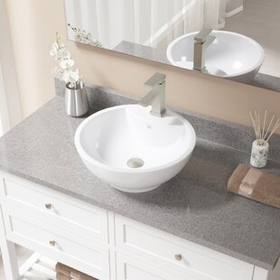 Vitreous China Circular Vessel Bathroom Sink with Faucet and Overflow By MR Direct