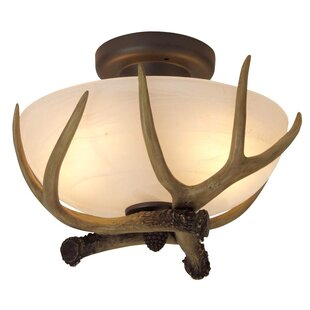 Carmela Antler Bowl 2-Light Semi Flush Mount by Loon Peak