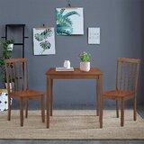 Bertrad Solid Wood Slat Back Side Chair in Walnut (Set of 2) by Gracie Oaks