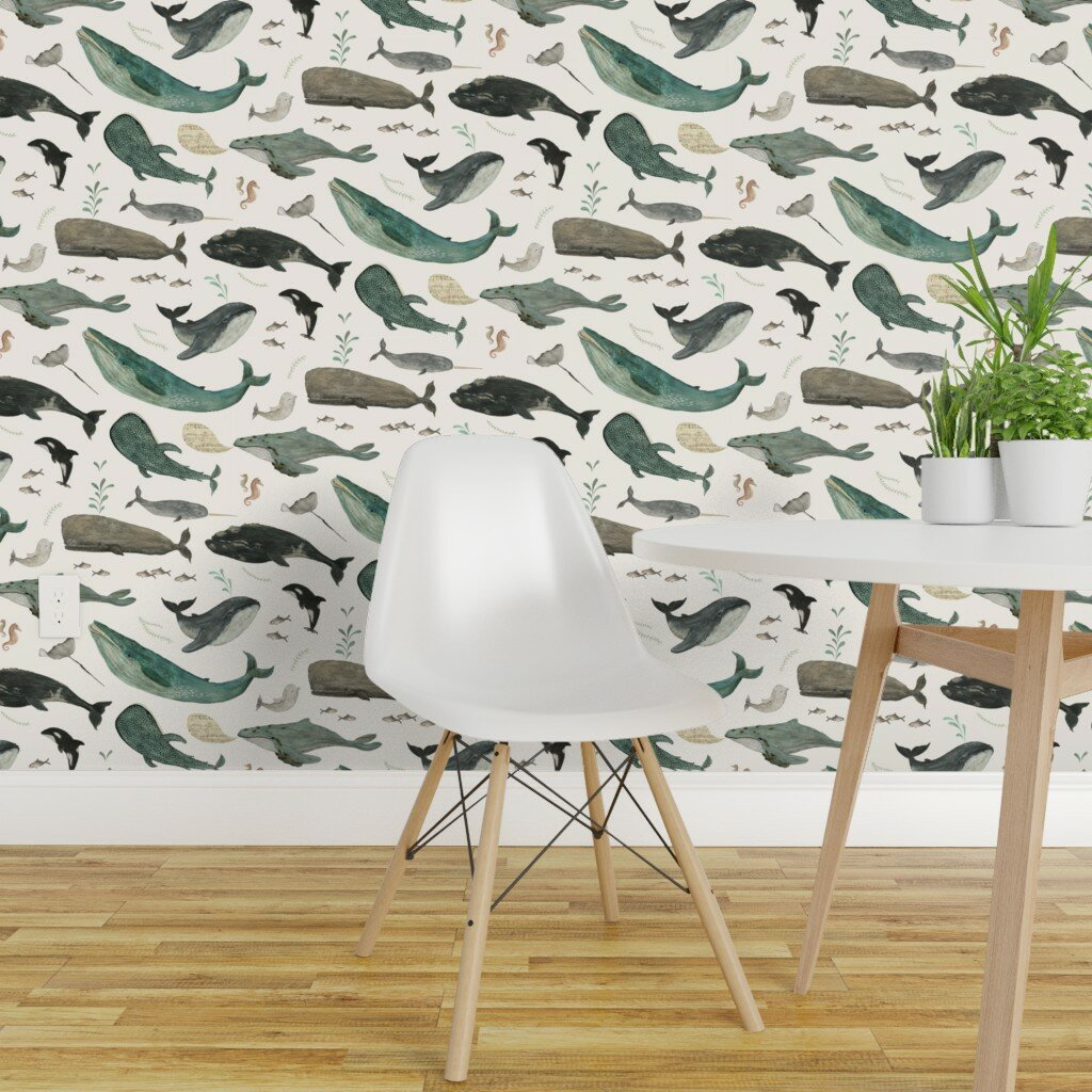 Breakwater Bay Jamir Whale Removable Peel And Stick Wallpaper