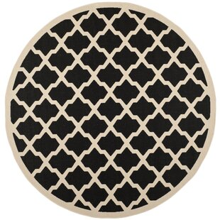 Short Black Trellis Indoor/Outdoor Area Rug