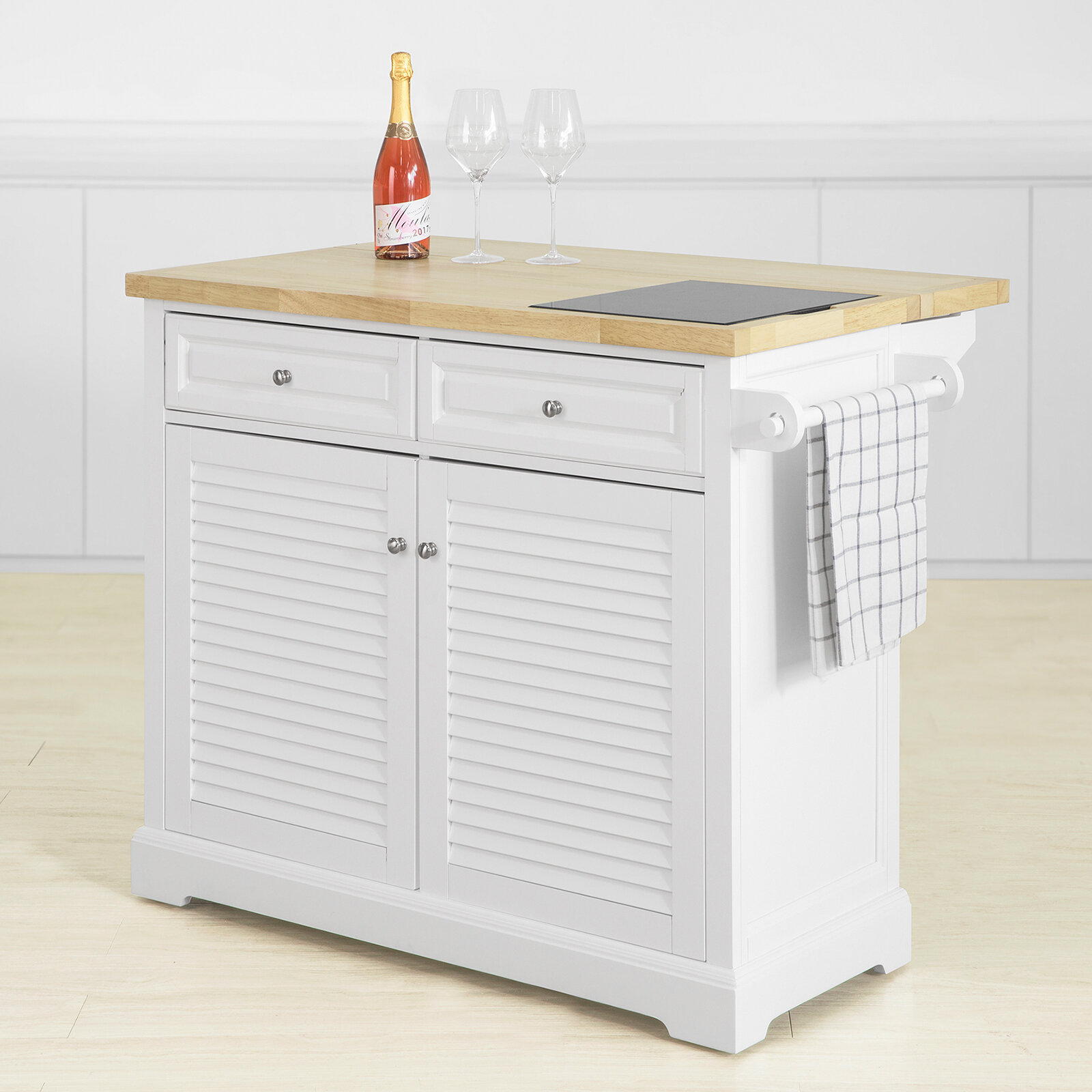 17 Stories Liano Kitchen Island Trolley With Marble Top Reviews