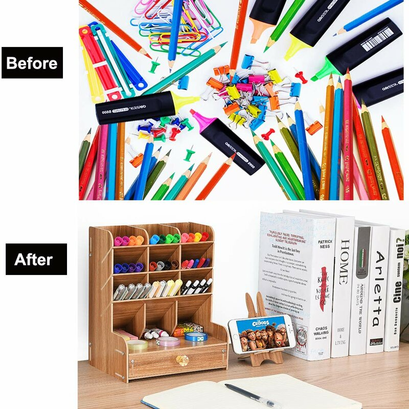 DIY Plastic Pen Rack Table Craft//Decor Multi Hole for Pen Desk Accessories