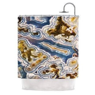'Gold and Blue Agate' Nature Single Shower Curtain