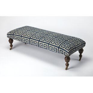 Longshore Tides Sangani Greek Key Upholstered Bench