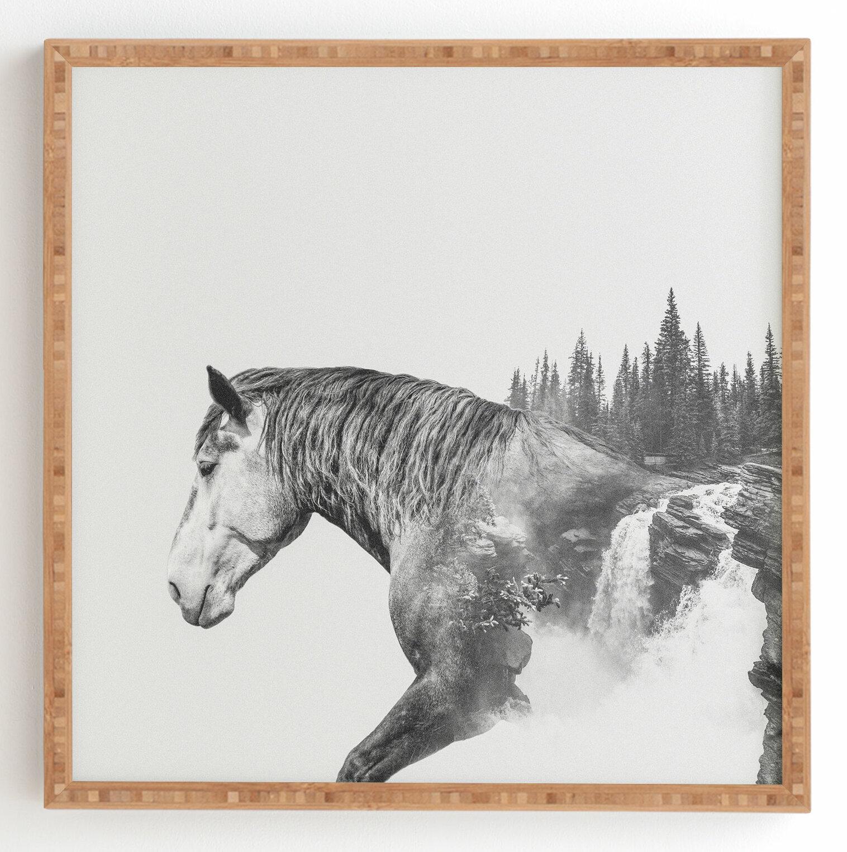 East Urban Home Horse Landscape Framed Graphic Art Print On Wood Wayfair Ca