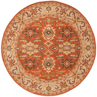Cranmore Hand-Tufted Wool Rust/Beige Oriental Area Rug by Charlton Home