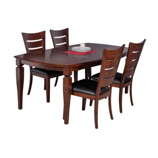Besse 5 Piece Solid Wood Dining Set by Re..