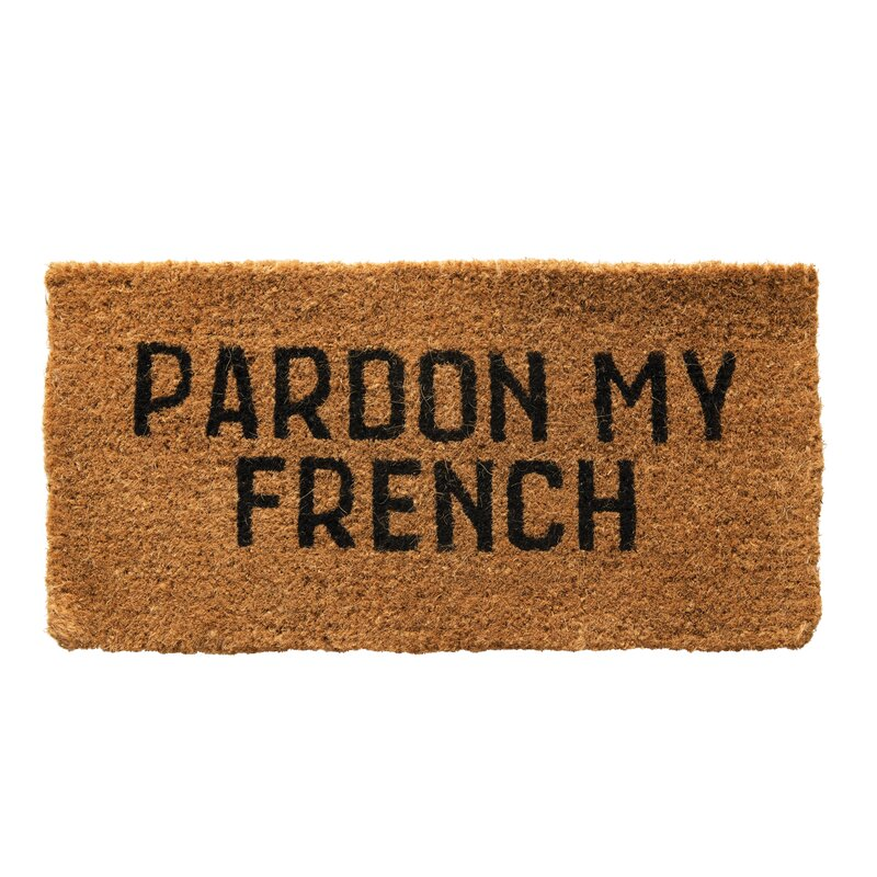 Buccigross Pardon My French Natural Coir 32 in. x 16 in. Indoor Door Mat