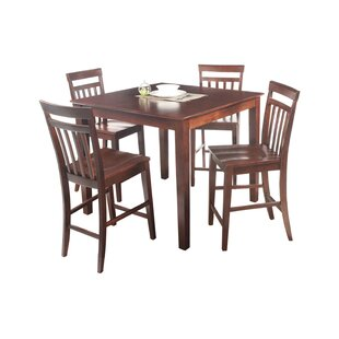 Foxfield 5 Piece Counter Height Solid Wood Dining Set Loon Peak