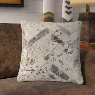 Linehan Chevron Leather Throw Pillow