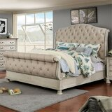 Faucett Tufted Upholstered Low Profile Sleigh Bed by One Allium Way®