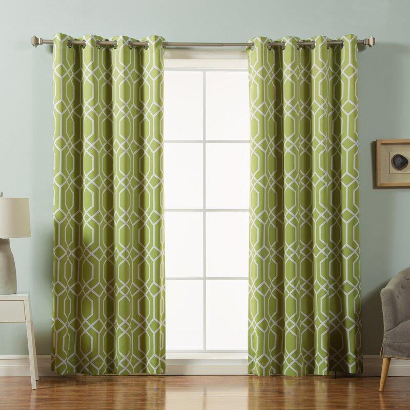Trellis Geometric Semi-sheer Grommet Curtain Panels