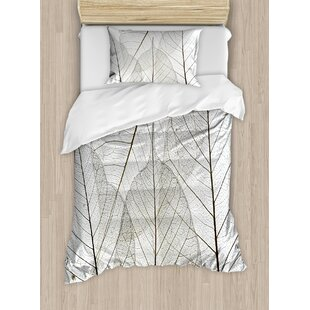 Nature Macro Leaf Veins Tissue Pattern Cells Minimalist Foliage Plant Artsy Duvet Set by East Urban Home