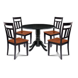 Laszlo 5 Piece Drop Leaf Solid Wood Dining Set Millwood Pines