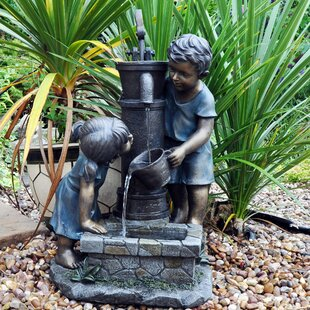 Exceptional Boy And Girl Stone Hand Pump Water Fountain