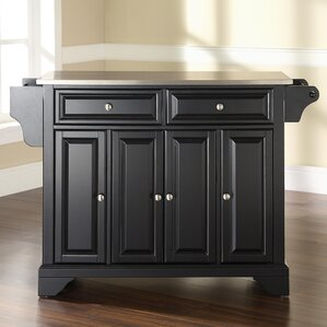 Abbate Kitchen Island with Stainless Steel Top by Darby Home Co