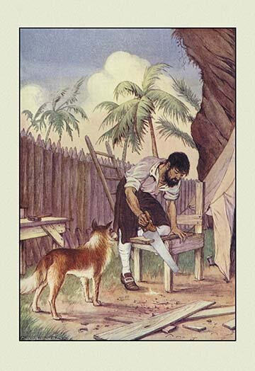 Buyenlarge Robinson Crusoe I Made Me A Table By Milo Winter Framed Painting Print