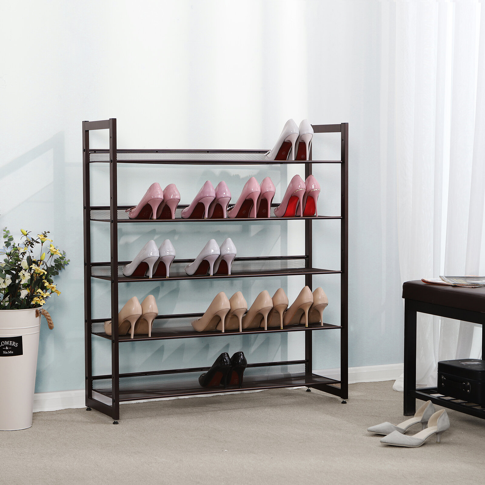 5-Tier 20-Pair Stackable Free Standing Shoe Rack Nonwovens Cube Shoe Organizer