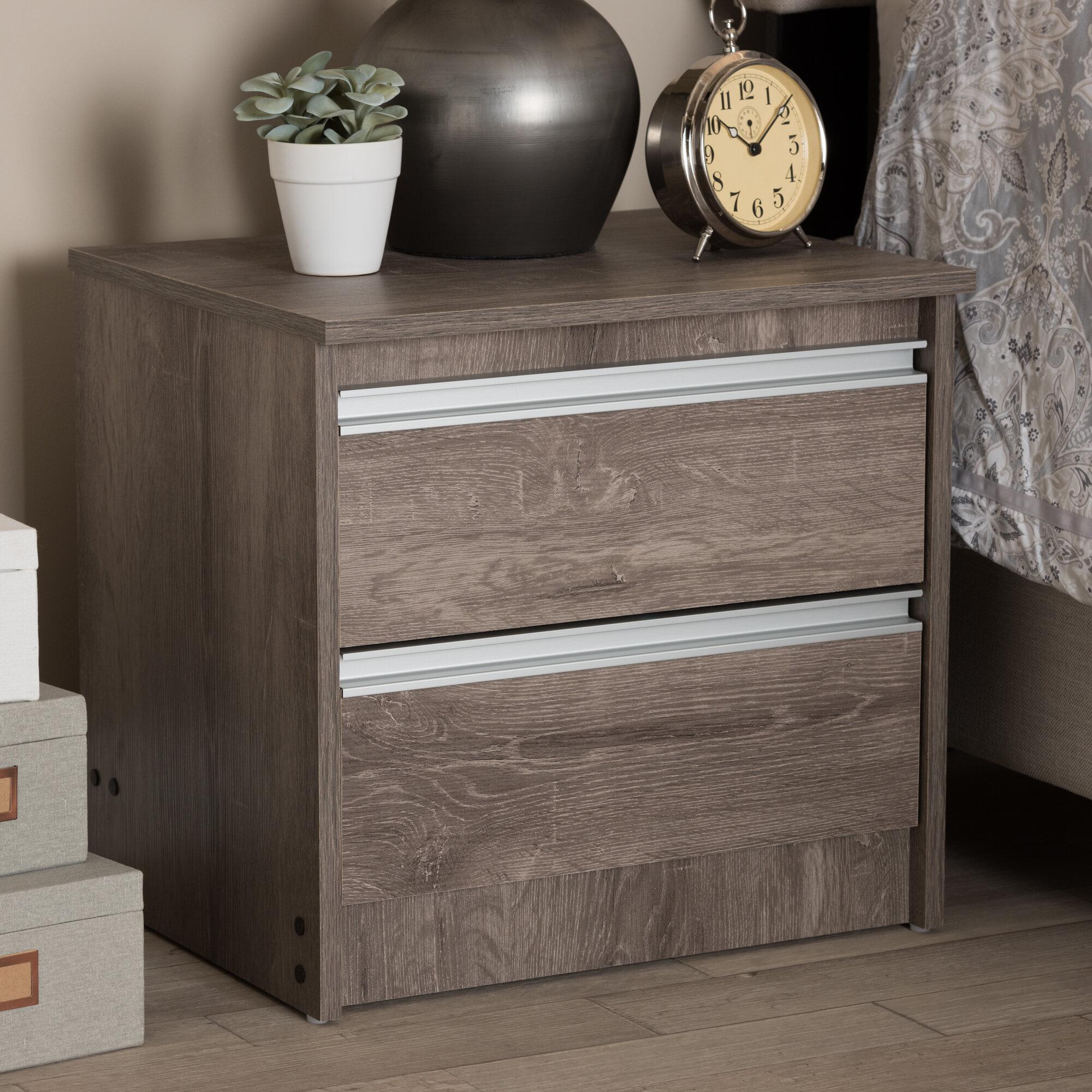 Rustic Industrial Wood Nightstand Beside Table w//Slatted Drawer /& Cubby Shelf