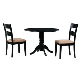 Angela 3 Piece Drop Leaf Solid Wood Dining Set Alcott Hill