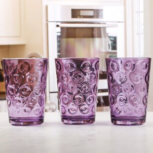 Elizabeth Street Plum Circle Juice 7 oz. Glass Every Day Glass (Set of 8)
