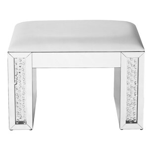 Latrell Crystal Leather Vanity Stool