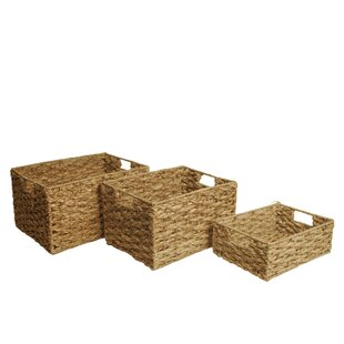 Budget Woven Wicker 3 Piece Basket Set By Highland Dunes