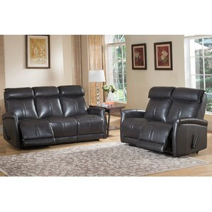 Amax Mosby 2 Piece Leather Living Room Set