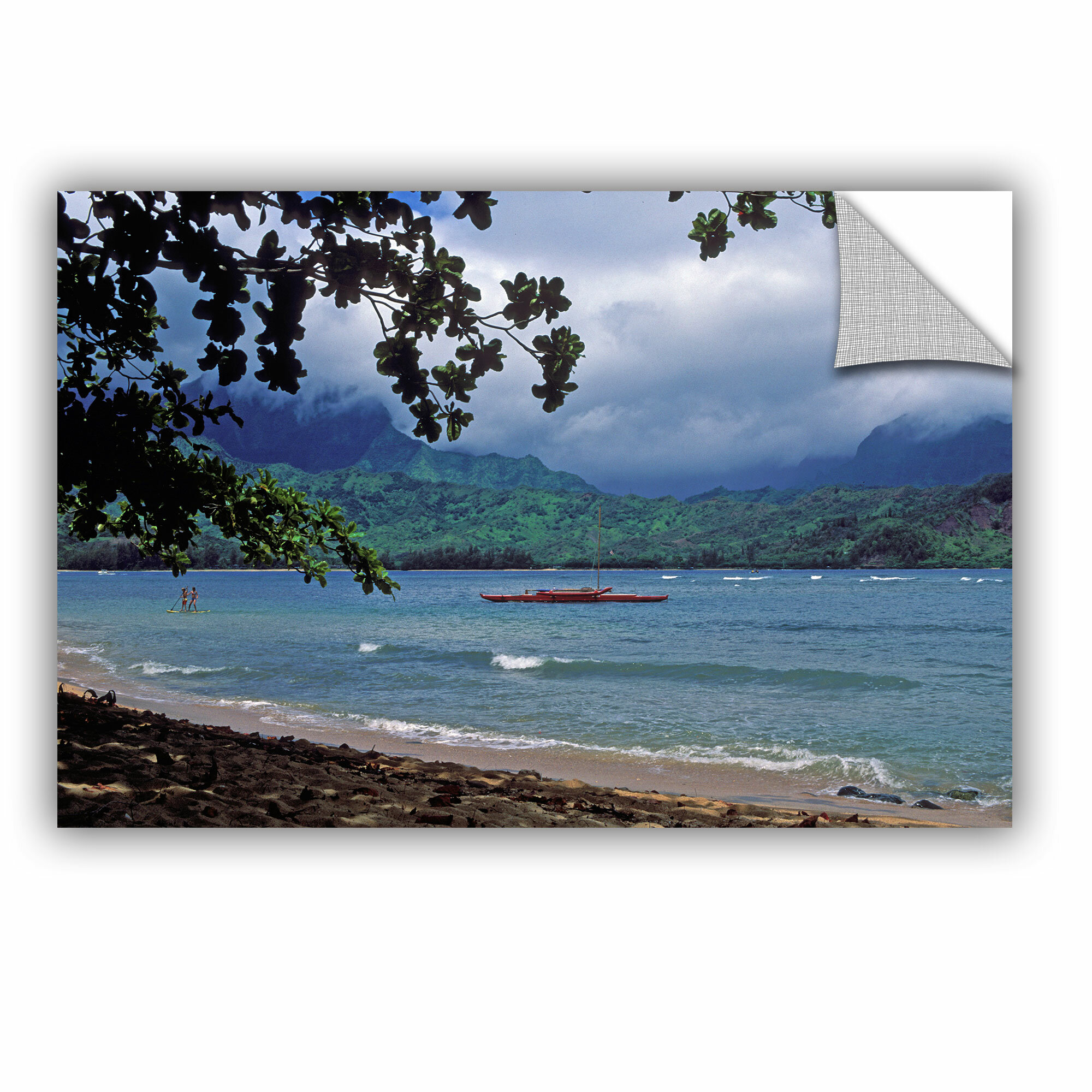 Artwall Red Canoe On Hanalei Bay By Kathy Yates Photographic Printremovable Wall Decal Wayfair