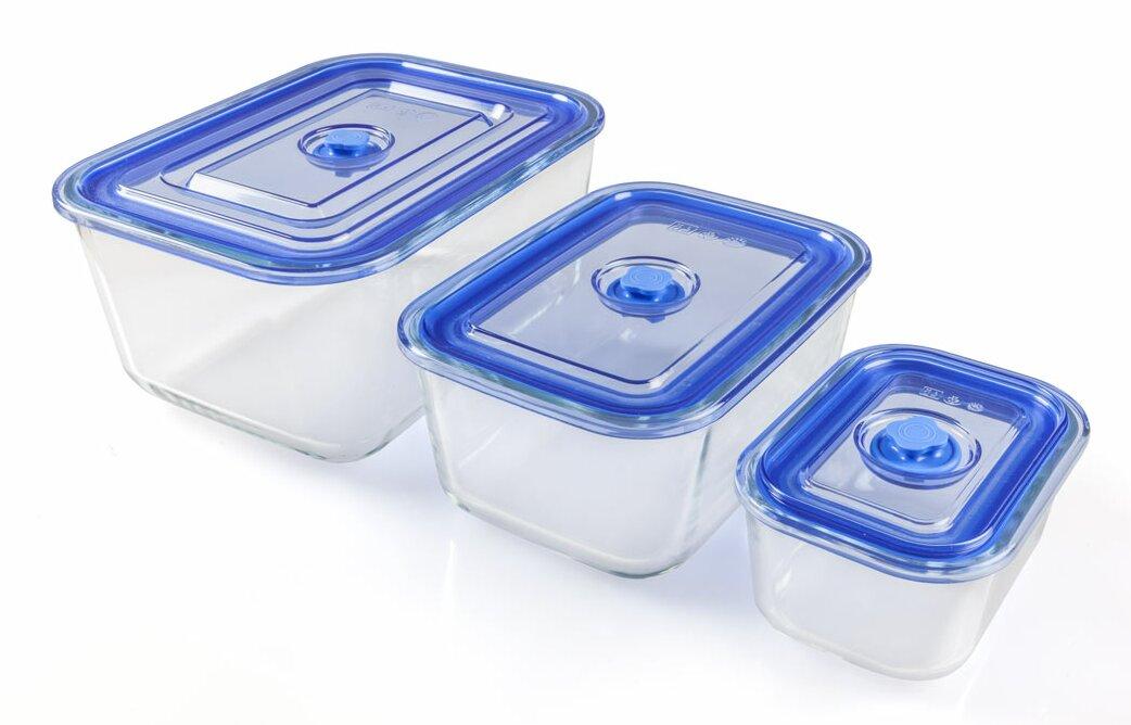 Rectangular Vacuum Borosilicate 3 Container Food Storage Set